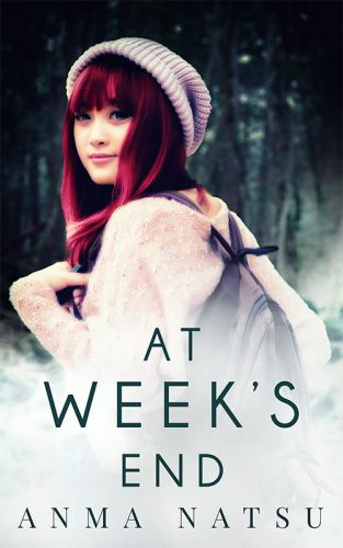 Cover for novel At Week's End depicting a Japanese girl with vivid read hair looking over her shoulder at the camera, a mysterious half-smile on her face.  She's wearing a pink shirt with a brown back pack, purple knit hat, and standing in front of a thick forest.