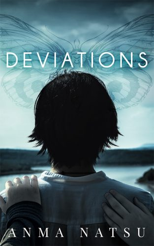 Cover image for the book Deviations.  Cover has the head and upper back of girl with short, black, messily cropped hair with her back to the viewer as she looks out into a bay.  Two hands are touching her, one on her shoulder her the other touch the top of her back.  In the overcast sky above the bay, the faint outline of a moth is visible.