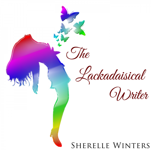 The Lackadaisical Writer podcast cover art.  Displays a rainbow hued silhouette of a female, with her head back, long hair hanging down and rainbow colored butterfly silhouettes appearing to fly from her chest.  The show title is beside the woman, and Anma Natsu's name along the left side edge.